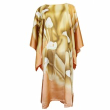 Rayon Yellow Robe Sexy Night Dress Casual Sleepwear Chinese Flower Nightwear Satin Women Intimate Lingerie Kaftan One Size(China)
