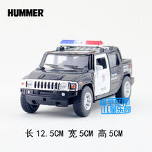 KINSMART Diecast Metal Model/1:40 Scale/2005 Hummer H2 SUT Police toy/Pull back car for children's gift/for collection/Education