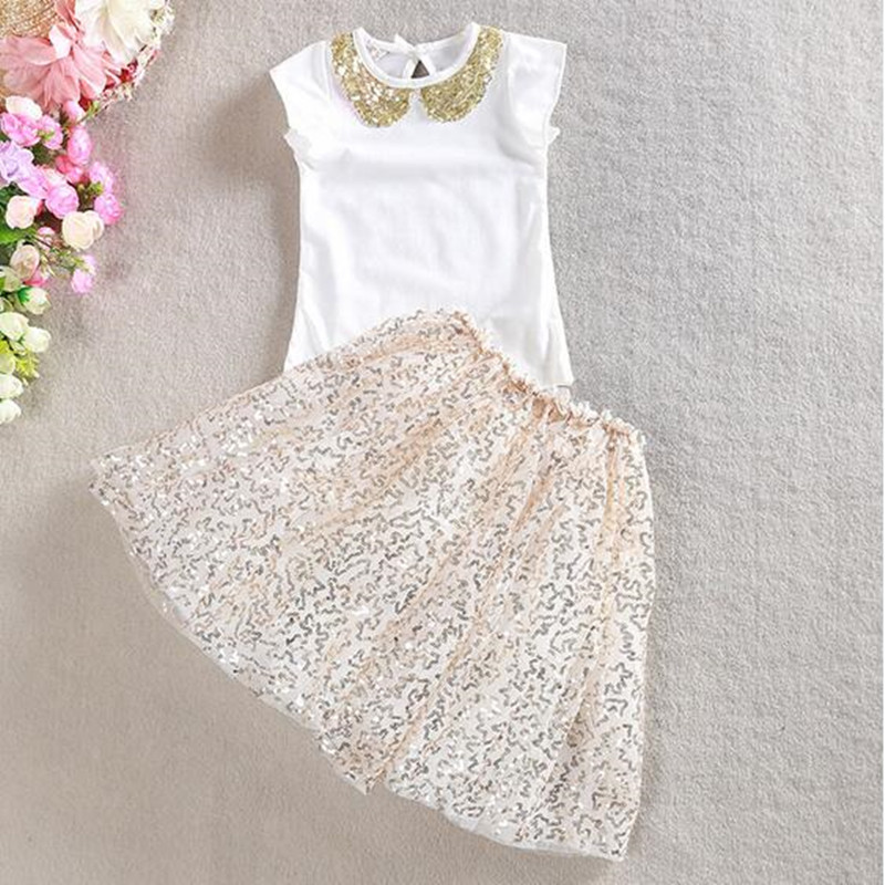 Wholesale Sequins Summer Girls Clothing Set Collar White Tshirt Tutu Skirt 2pcs Baby Girls Set Fashion Girls Baby Clothes <br><br>Aliexpress