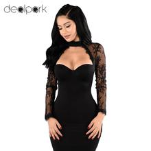 Elegant Women Lace Floral Dress Cut Out High Neck Sheath Casual Party Dresses female Sexy Club Bodycon Dress Ladies Black/Red(China)