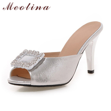 Meotina Women Sandals Summer Peep Toe Slippers Party Thin High Heels Ladies Shoes Crystal Wedding Heels Sliver Large Size 9 10(China)