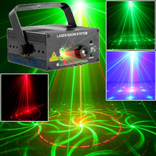 Red Green Laser Light Music Projector Dj Disco Ball Strobe Lights 18 Pattern Color Change for Laser Disco Music Center Equipment(China)