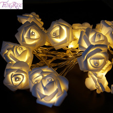 FENGRISE 2M Rose LED String Lights Battery Fairy Lights Wedding Decorations Merry Christmas Home Decor Birthday Party Supplies(China)