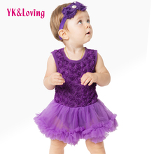 Rose Floral Dresses Purple Red Pink Black Baby Girl Christening Gowns Sleeveless Tutu romper Dress 2Pcs for 0-24M Toddler Baby