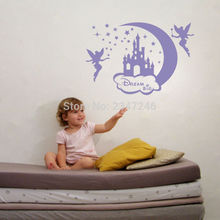 Creative Moon Stars Fairies Castle Wall Stickers Dream Big Vinyl Art Lettering Decal for Kids Girls Room Decor(China)