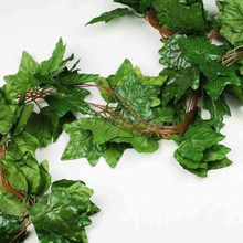 5PCS Big Sleaf Leaf Artificial Vine Garland Plants Ivy Vine Fake Plants Flowers Wedding Home Decor 7.5 feet  Artificial Ivy