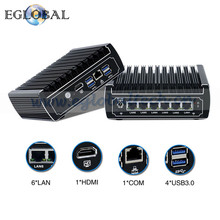 Fanless Pfsense Mini PC 6*Intel Gigabit Lans RJ45 Core i3 7100U 2.4GHz Win10 Linux Firewall Router DHCP VPN Server console