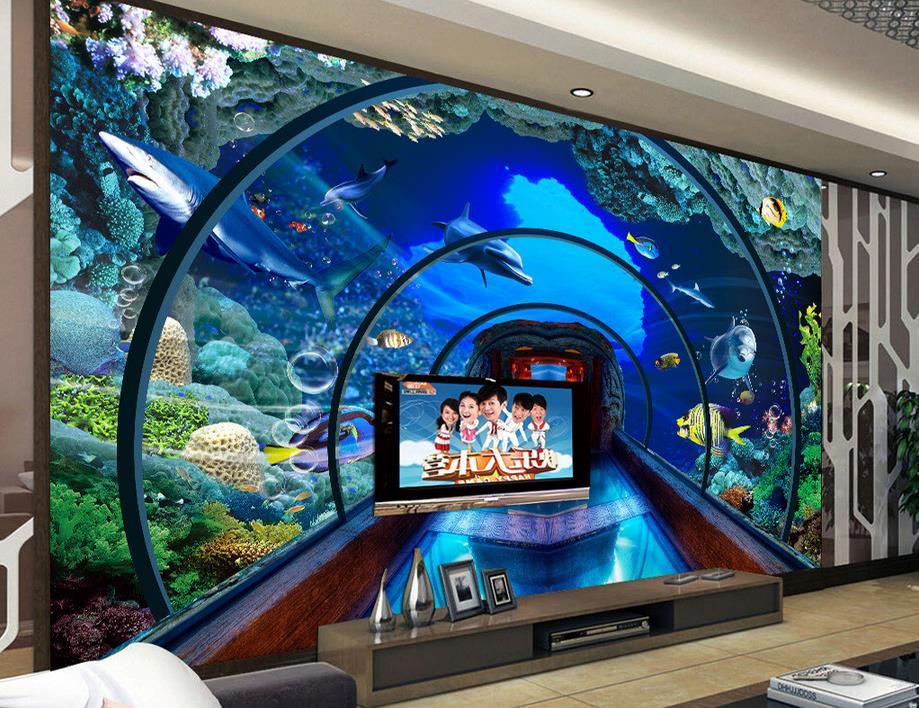 3d wallpapers customized living room wallpaper Underwater World Aquarium wall mural 3d stereoscopic wallpaper modern wallpaper<br><br>Aliexpress