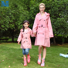 EVA Lady Trench Coat Style Hooded Raincoat Women Waterproof Rain Coat With Belt Outdoor Rainwear