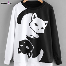 2017 Winter New Fashion Black And White Color Patchwork Hoodies Women Cat Pattern Pullover Sweatshirt Female Tracksuit Warm Tops(China)
