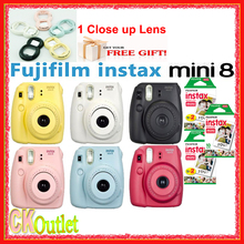 Original Fujifilm Instax Mini 8 Camera + 50PCS Sheet fujifilm mini white film for Polaroid Instax Mini 8 9 70 90 NEO in 6 colors