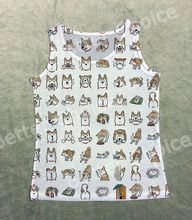 Track Ship+Vintage Printed Retro Cool Vest Tanks Tank Tops Mini Shiba Inu Dog Life with Smile Angry Sad Happy 1422