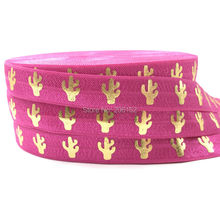 "Good Quality Rose Pink Cactus Print Fold Over Elastic 10 Yards 5/8"" Cacti FOE Elastic Ribbon for DIY Head wear Headband Hair Tie(China)"