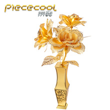 Piececool Gloden Rose 3D Metal Puzzle Romantic 3D Metallic Laser Cut Model Jigsaws Miniature 3D Puzzle for Lover Gift Adult Toys(China)