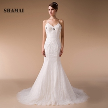 Buy Wedding Dresses V neck SweepTrain Appliques Lace Wedding Gowns Spaghetti Straps Plus Size Bride Dressess Vestido de Noiva for $223.20 in AliExpress store