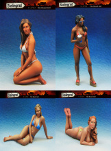 Scale Models 1/35 sexy beach beauty 4 Beach Girls    figure  uncolor WWII Resin Model Free Shipping