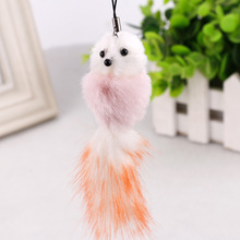 Lovely color small fox mobile phone pendant golden key buckle plush pendant mobile phone car accessories keychain for women