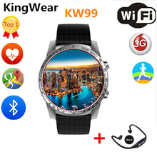 KW99 Smart Watch Bluetooth Smartwatch Android Watch Phone Sports Tracker Heart Rate 3G SIM Wifi Update from KW88 Wristwatch(China)