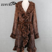 ZDFURS * Luxury Women Genuine Mink fur ruffle design Knitted Mink Fur Coat Jackets Natural fur Outerwear Overcoat Long female(China)