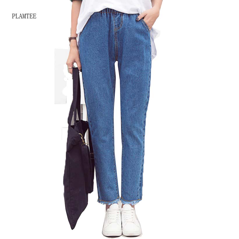 2017 New Spring Autumn Fringed Pants Feet Solid Color Nine Points Jeans For Women Loose Harem Pants Of  Fashion TrousersОдежда и ак�е��уары<br><br><br>Aliexpress