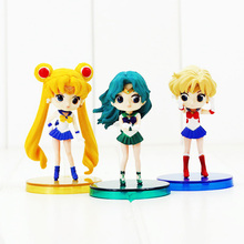 3pcs/Lot Q Version Sailor Moon Mercury Hino Rei PVC Figure Toys Model Dolls Great Gifts