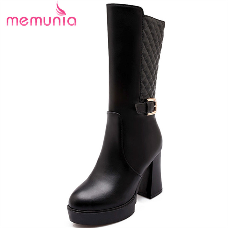 large size 34-43 high quality winter snow boots thick high heel women shoes pu leather round toe mid calf boots<br><br>Aliexpress
