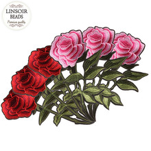 LINSOIR 2pcs/lot Fashion Rose Flower Embroidery Patches Fabric Embroidery Stickers For Hairband Accessories Jewelry Making F5546