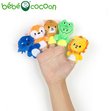 bebecocoon 5pcs Random Cartoon Biological Animals Finger Puppet Plush Toys Child Baby Favor Dolls Boys Girls Finger Puppets(China)