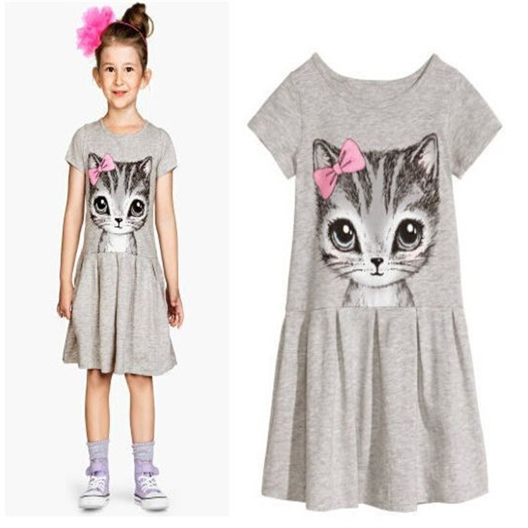Spring Summer Cat Print Girls Short Sleeve Dresses Cartoon Cotton Party Dresses Kids Casual Clothes robe princesse fille<br><br>Aliexpress