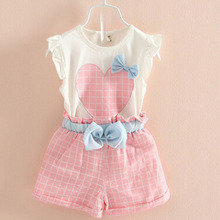 2018 New Girls Summer Suit Pants Kids Shirt Shorts Cute Heart Pattern Elastic Lattice Pants Green Pink Children Clothing Sets(China)