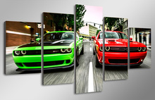 HD Printed Challenger green red cars Painting Canvas Print room decor print poster picture canvas Free shipping/mml-4310