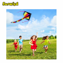 Surwish Outdoor Sky Dancer Toy Rainbow Color Kite Polyester Fiberglass Triangle Flying Kite with Long Tail(China)
