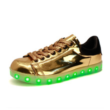 children glowing Colorful Lighted Shoes USB Charge Fluorescent Shoes Hot-selling Adult Children's shine fashion Sneakers(China)