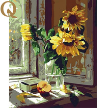 High Quality Window Sunflowers 40x50cm Framed Handpainted 1Set DIY Digital Oil Painting By Numbers Hand Painted Home Decoration