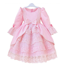 Long Sleeve Girls Toddler Christmas Dresse Winter Cotton Infant Party Children Princess Pink White Bow Lace  Ball Gown Costumes