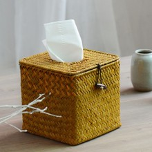 NEW!Rural Style Sqaure Shape Nature Straw Tissue Box Dining Table Napkin Holder Environment_friendly Paper Box Storage Case Hot!