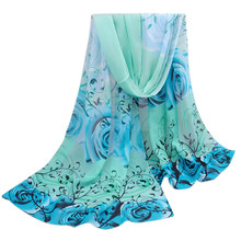 2017 Amazing Collocation scarf Women Beautiful Rose Pattern Chiffon Shawl Wrap Wraps Scarf Scarves foulard femme #YL
