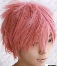 Anime Fairy Tail Natsu Dragneel Cosplay Wig Costume Short Pink Synthetic Hair Wigs Party Peruca Pelucas<br><br>Aliexpress