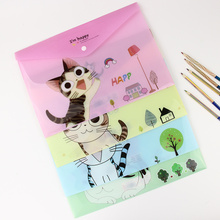 1 PC Cute Cartoon Cheese Cat PVC A4 Filing Products File Folder Storage Stationery School Office Supplies(China)