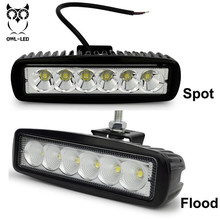 New 18W 12V LED Work Light Bar Spotlight Flood Lamp Driving Fog Offroad LED Work Car Lights for Jeep Toyota SUV 4WD Boat Truck(China)