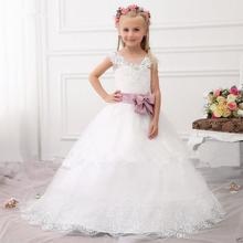 Flower Girl Dress For Weddings Cap Sleeve Appliques Lace Cupcake Pageant Dress For Little Girls Beads First Communion Dress FH25