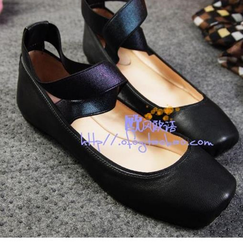 Free shipping new square head flat with flat shoes sheepskin pregnant women low heel ballet shoes big yards 34-41 women flats<br>