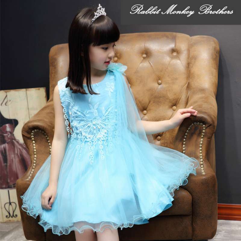 Girls summer dress new 2017 Summer fashion Shoulder Flower Gauze dress Princess Tutu Dress girls dresses for party and wedding<br>