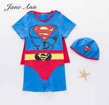 Baby Boy Swimwear Children Blue Superman Swimsuit Bathing Beach Spa Pool Swimming Bodysuit+Hat Suits Kids Infant Summer Clothes