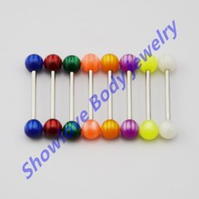 Showlove Lot of 8pc Acrylic Opal Cat's Eye Design Ball Barbell Tongue Ring Piercing Jewelry