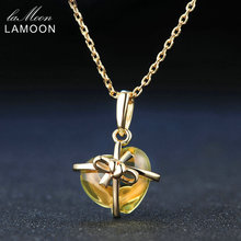 LAMOON Romantic Heart Natural Citrine 925 Sterling Silver Amber Pendant Necklace Fine Jewelry 14K Yellow Gold Plated Necklaces