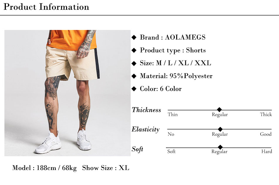 Aolamegs Shorts Men Harajuku Side Striped Bermuda Beach Knee-length Shorts Elastic Mens Sweatpants Casual Fashion Streetwear (1)