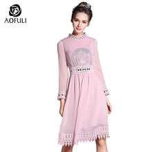 S - 5XL Vintage Women Embroidery Dress 2017 Spring Knee-Length Dress Big Size Ladies Hollow Lace Boutique See-through Pink 3815(China)