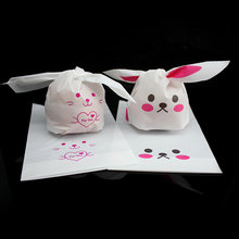 50pcs/pack Variety of Styles Rabbit Ear Cookie Bags Plastic Candy Biscuit Packaging Bag Wedding Candy Gift Bags party Supplies(China)