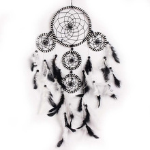 Black White Handmade Dream Catcher Feathers Bead Dreamcatcher Net for Wall Hanging Decoration Ornament Crafts Moscot Gifts